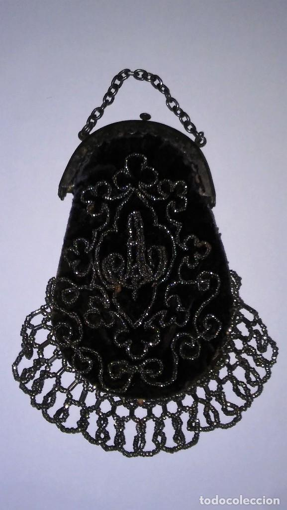 Antigüedades: Miniatura bolso, bolsito monedero de terciopelo bordado, época victoriana (1837-1901) antiguo s XIX - Foto 5 - 113119475