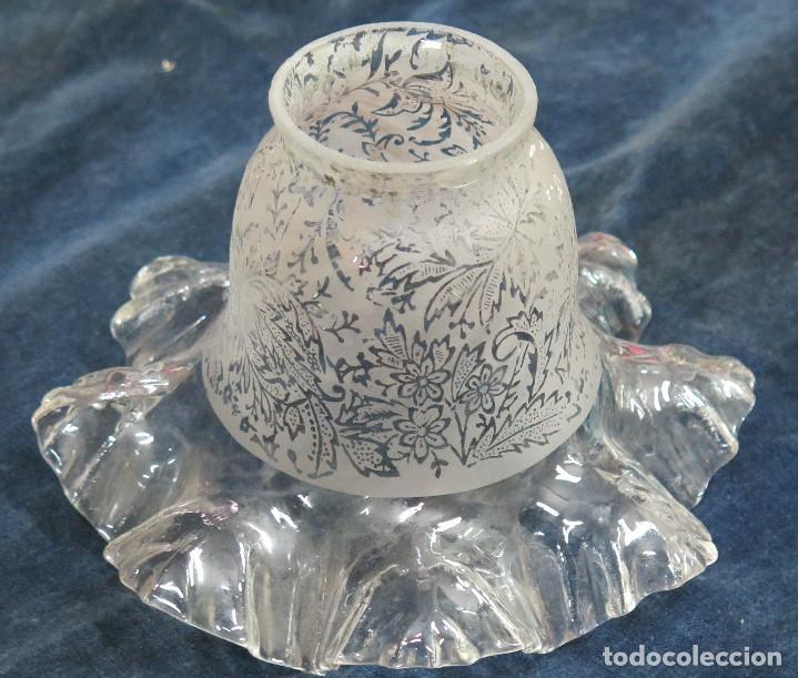 ANTIGUA TULIPA MODERNISTA DE CRISTAL. SIGLO XIX (Antigüedades - Iluminación - Lámparas Antiguas)