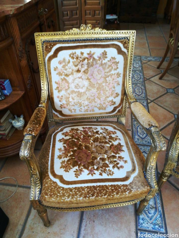 Antigüedades: Tresillo Luis XV con hilo de oro y plata y tapicería original. - Foto 2 - 183037272