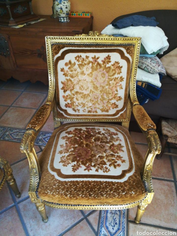 Antigüedades: Tresillo Luis XV con hilo de oro y plata y tapicería original. - Foto 3 - 183037272