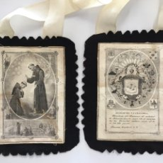 Antigüedades: ESCAPULARIO BENEDICTIO S. P. FRANCISCI PARA PROCESIÓN. H. 1930?. Lote 113153891