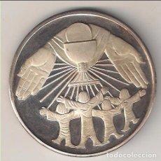 Antigüedades: MEDALLA CONMEMORATIVA DE LA PRIMERA COMUNIÓN. PLATEADA. PROOF. (MD25). Lote 113171723