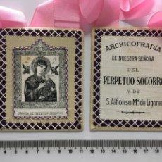 Antigüedades: ESCAPULARIO ARCHICOFRADIA DE NTRA. SRA. DEL PERPETUO SOCORRO PARA PROCESIONAR. H. 1950?. Lote 113172207
