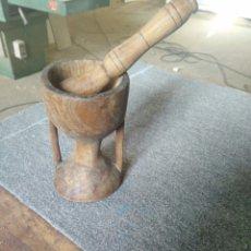 Antigüedades: ANTIGUO MORTERO DE MADERA. Lote 113178142