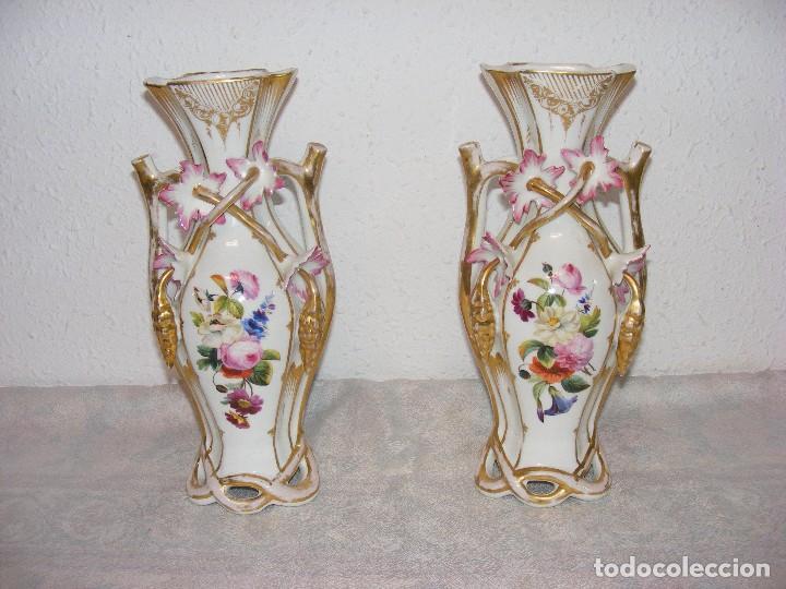 PAREJA DE JARRONES VIEJO PARIS (Antigüedades - Porcelana y Cerámica - Francesa - Limoges)