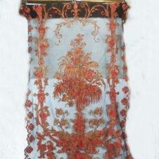 Antigüedades: T2 CORTINA MODERNISTA ART NOUVEAU BORDADA A MANO COLECCIONISTAS MUSEOS. Lote 113242495