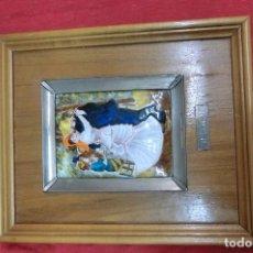 Antigüedades: CUADRO CON ESMALTE Y MARCO DE PLATA DE LEY. Lote 113260835