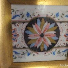 Antigüedades: AZULEJO FLOR CENTRAL Y HOJAS ALREDEDOR, ENMARCADO SIGLO XIX. Lote 113264595