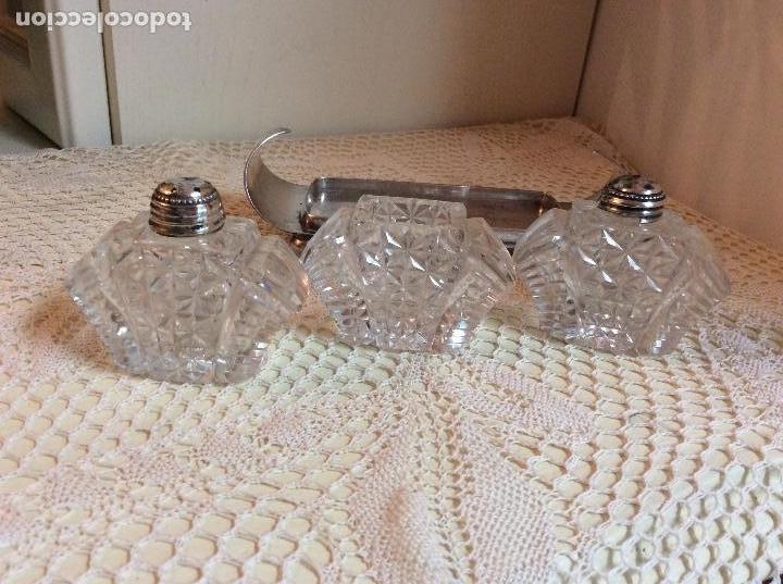 Antigüedades: Raro set de condimento inglés: salero, pimentero y mostacero de cristal tallado. Art Deco años 20 - Foto 4 - 132411209