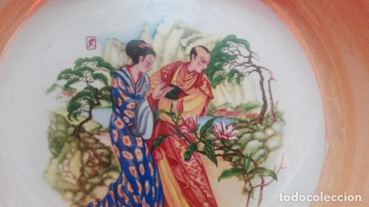 FUENTE SAN CLAUDIO 23 CM DIAMETRO ESCENA CHINESCA (Antigüedades - Porcelanas y Cerámicas - San Claudio)