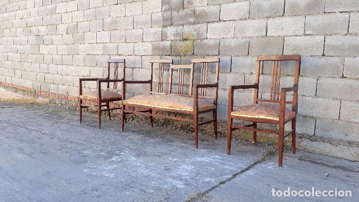 Antigüedades: Tresillo antiguo estilo modernista, sofá antiguo + dos sillones antiguos estilo modernista, art deco - Foto 2 - 113327643