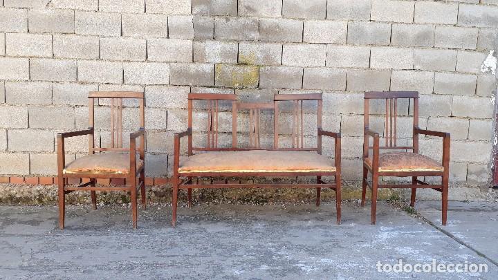 Antigüedades: Tresillo antiguo estilo modernista, sofá antiguo + dos sillones antiguos estilo modernista, art deco - Foto 3 - 113327643