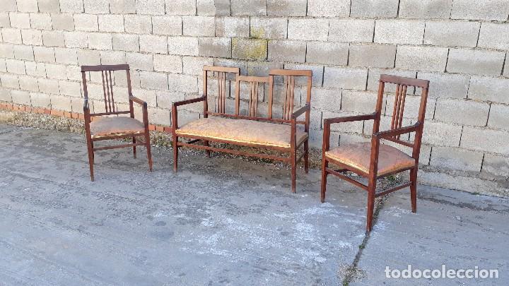Antigüedades: Tresillo antiguo estilo modernista, sofá antiguo + dos sillones antiguos estilo modernista, art deco - Foto 4 - 113327643