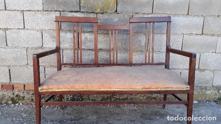 Antigüedades: Tresillo antiguo estilo modernista, sofá antiguo + dos sillones antiguos estilo modernista, art deco - Foto 7 - 113327643
