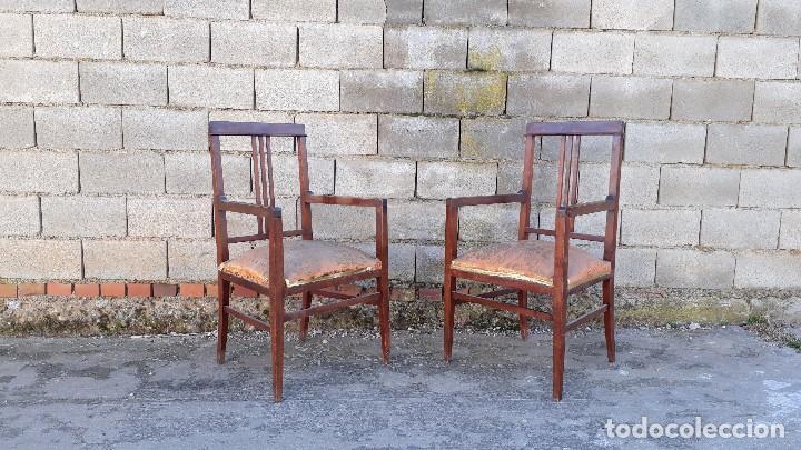 Antigüedades: Tresillo antiguo estilo modernista, sofá antiguo + dos sillones antiguos estilo modernista, art deco - Foto 10 - 113327643
