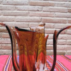 Antigüedades: CENTRO DE MESA EN CRISTAL GRUESO EN COLOR MELADO. VINTAGE.. Lote 113340395