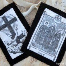 Antigüedades: BONITO ESCAPULARIO SAN LUIS REY - SAN FCO. DE ASIS - STA ISABEL - ARTÍCULO RELIGIOSO - DEVOCIONAL. Lote 113353095