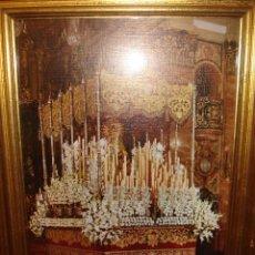 Antigüedades: CUADRO DE LA VIRGEN MACARENA CON ILUMINACION AÑOS 60. Lote 113370907