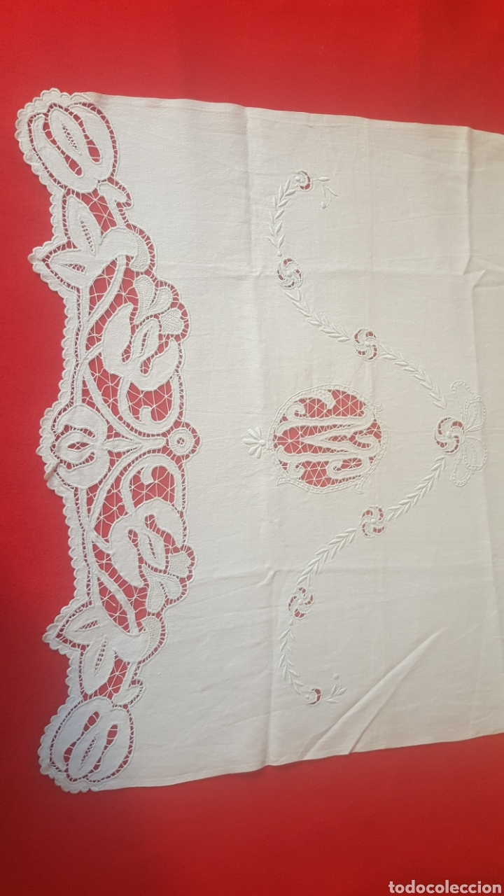 Antigüedades: toalla hilo bordada siglo XIX - Foto 3 - 113411991