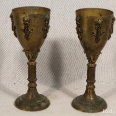 Antigüedades: PIES DE LAMPARA DE METAL EN FORMA DE CALIZ . Lote 113451771