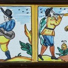 Antigüedades: COMPOSICIÓN DE AZULEJOS. MÚSICOS. CERÁMICA CATALANA PINTADA A MANO. SIGLO XX. . Lote 113486567