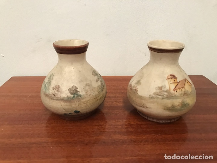 JARRONES FLOREROS PINTADOS A MANO MUY ANTIGUOS (Antigüedades - Porcelanas y Cerámicas - Otras)