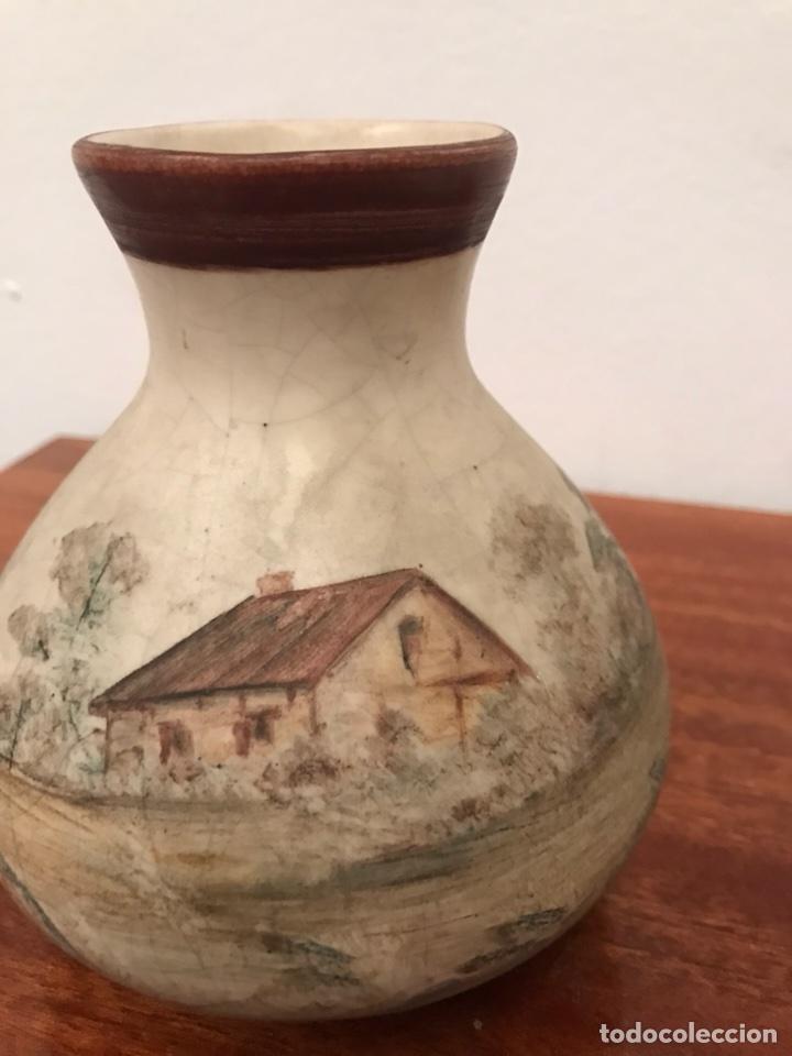 Antigüedades: Jarrones floreros pintados a mano muy antiguos - Foto 2 - 113492215