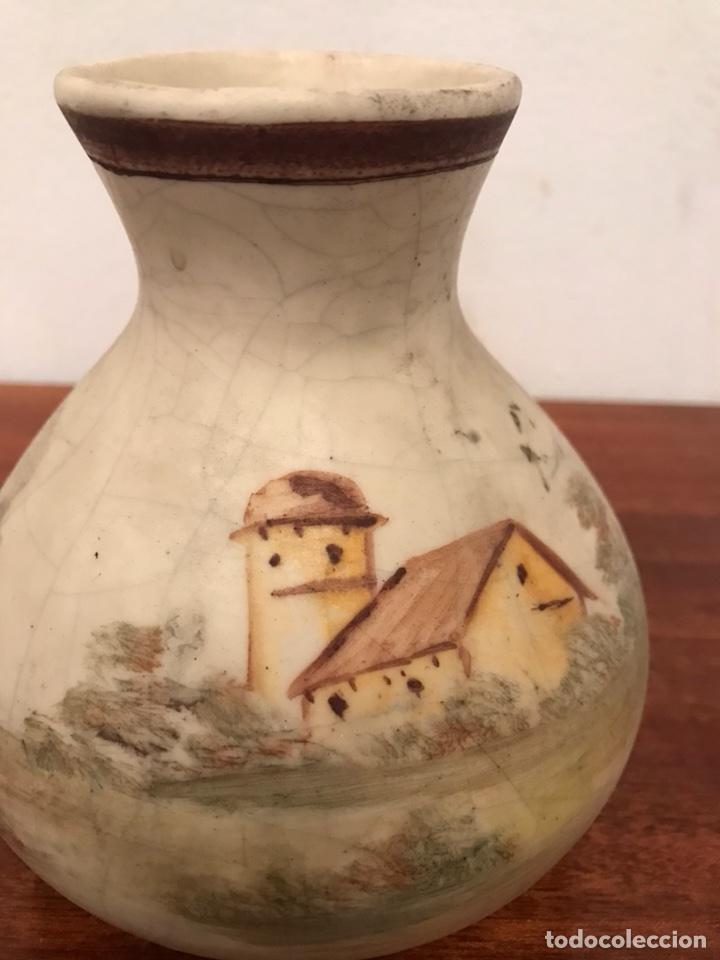 Antigüedades: Jarrones floreros pintados a mano muy antiguos - Foto 3 - 113492215