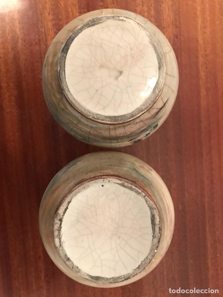 Antigüedades: Jarrones floreros pintados a mano muy antiguos - Foto 4 - 113492215