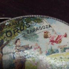 Antigüedades: ANTIGUA CAJITA CESTA METÁLICA CHOCOLATES ORÚS ZARAGOZA MUY RARA. Lote 113498967