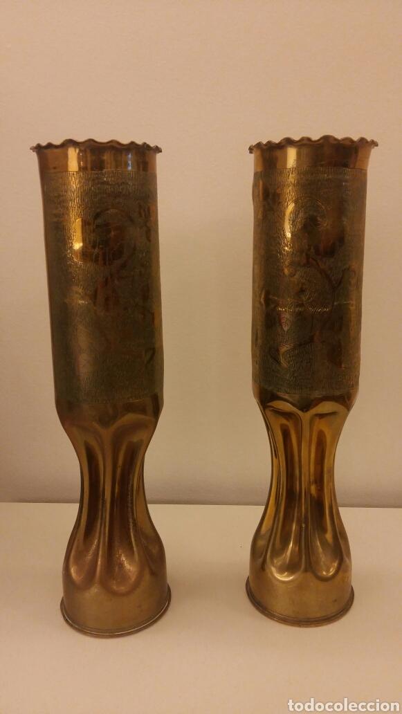 PAREJA DE CANDELEROS OBUS (Antigüedades - Iluminación - Candelabros Antiguos)