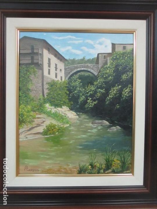Antigüedades: Pintura al Óleo sobre Tela - Paisaje - Firma P. Campeny - con Marco - Foto 2 - 113645847