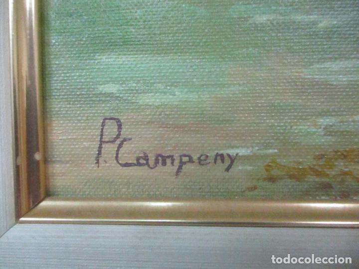 Antigüedades: Pintura al Óleo sobre Tela - Paisaje - Firma P. Campeny - con Marco - Foto 5 - 113645847
