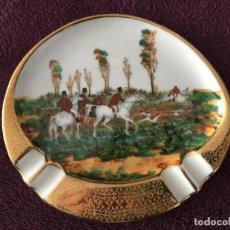 Antigüedades: CENICERO DE PORCELANA LIMOGES , CON ESCENA DE CACERIA DEL ZORRO , LIMOGES FOX . Lote 113656399