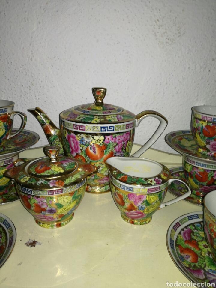 Antigüedades: Juego de porcelana china decoración Pegonias y Granas - Foto 2 - 113663755