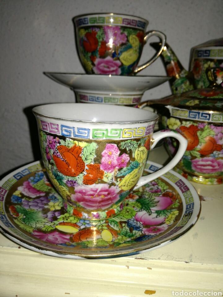 Antigüedades: Juego de porcelana china decoración Pegonias y Granas - Foto 3 - 113663755