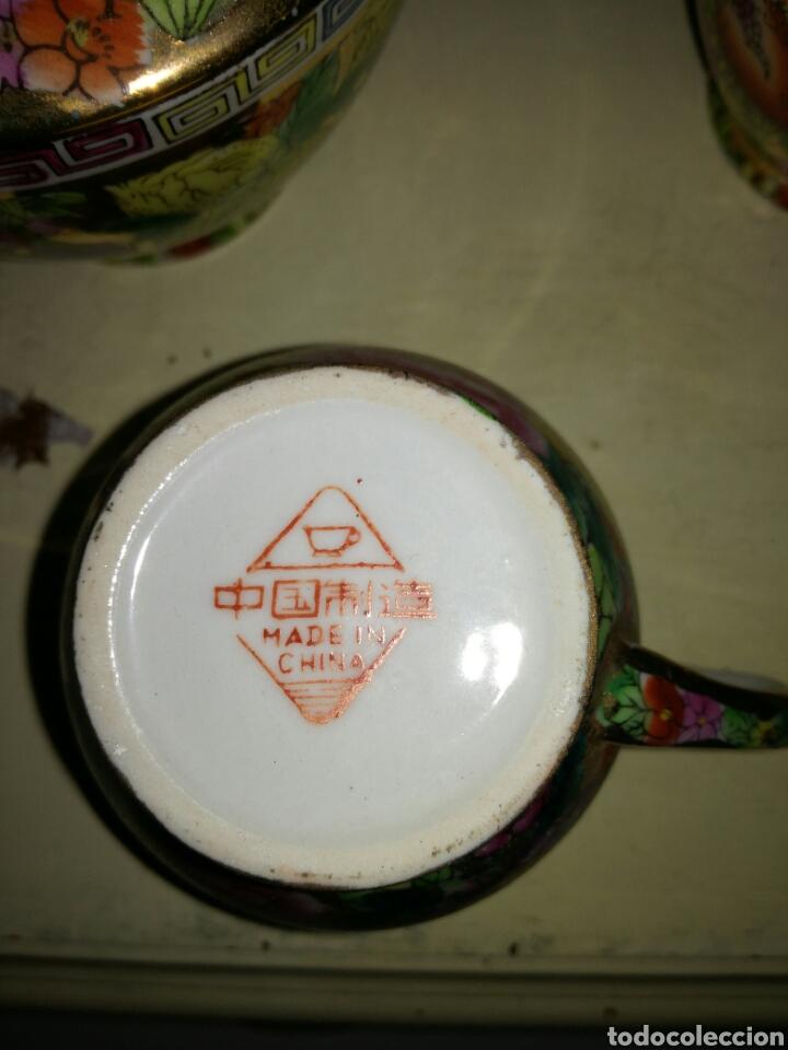 Antigüedades: Juego de porcelana china decoración Pegonias y Granas - Foto 4 - 113663755