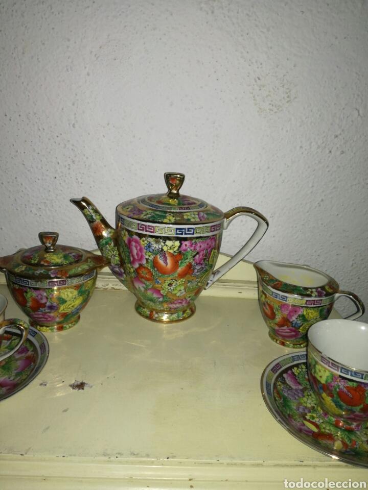 Antigüedades: Juego de porcelana china decoración Pegonias y Granas - Foto 6 - 113663755