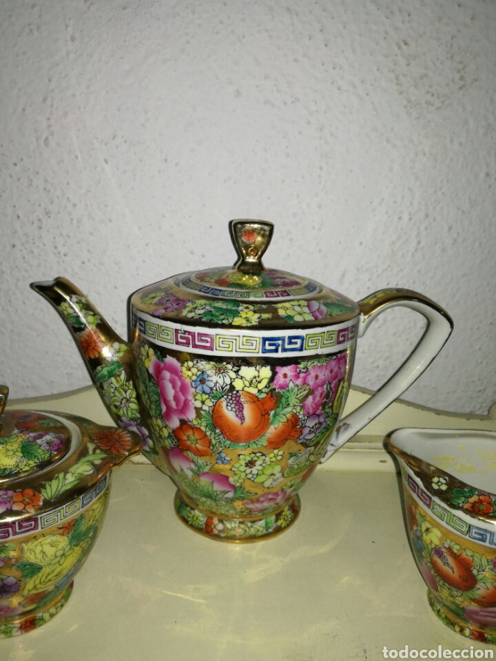 Antigüedades: Juego de porcelana china decoración Pegonias y Granas - Foto 7 - 113663755