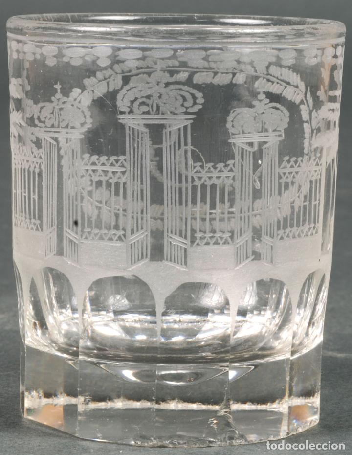Antigüedades: Vaso de cristal recuerdo de La Granja grabado al ácido iniciales V Y hacia 1850 - Foto 2 - 113669819