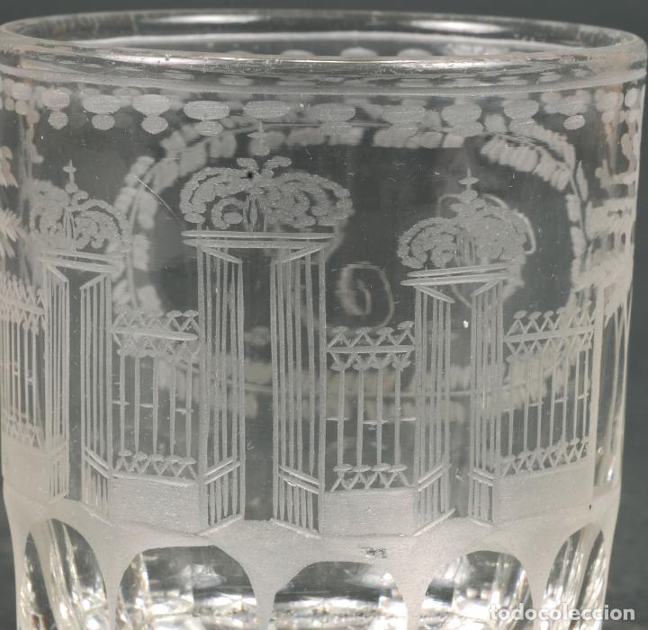 Antigüedades: Vaso de cristal recuerdo de La Granja grabado al ácido iniciales V Y hacia 1850 - Foto 3 - 113669819