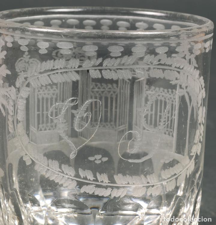 Antigüedades: Vaso de cristal recuerdo de La Granja grabado al ácido iniciales V Y hacia 1850 - Foto 4 - 113669819