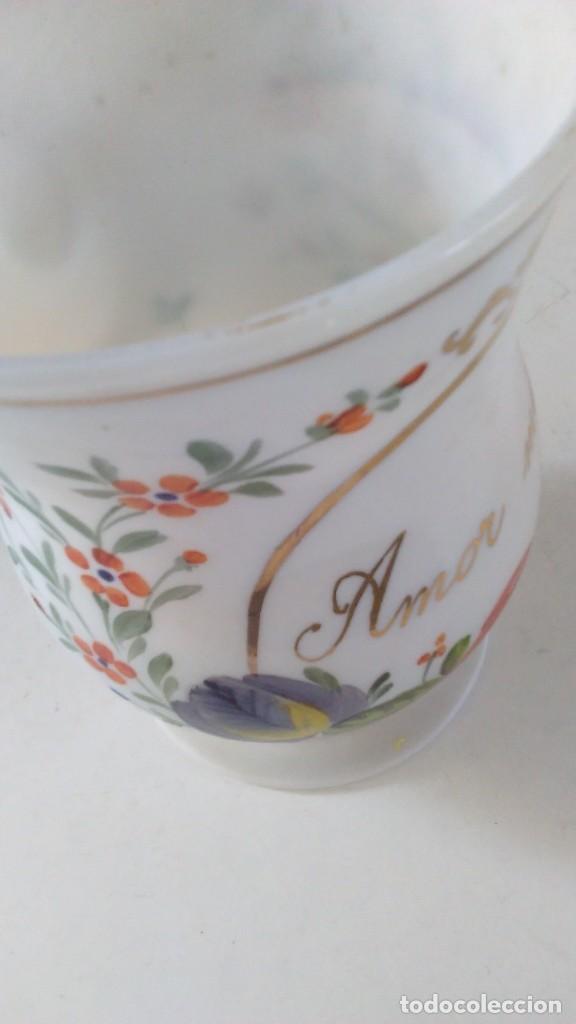 Antigüedades: Jarra o jarrita opalina de la Granja con inscripción Amor mio y con motivos florales - Foto 6 - 113669907