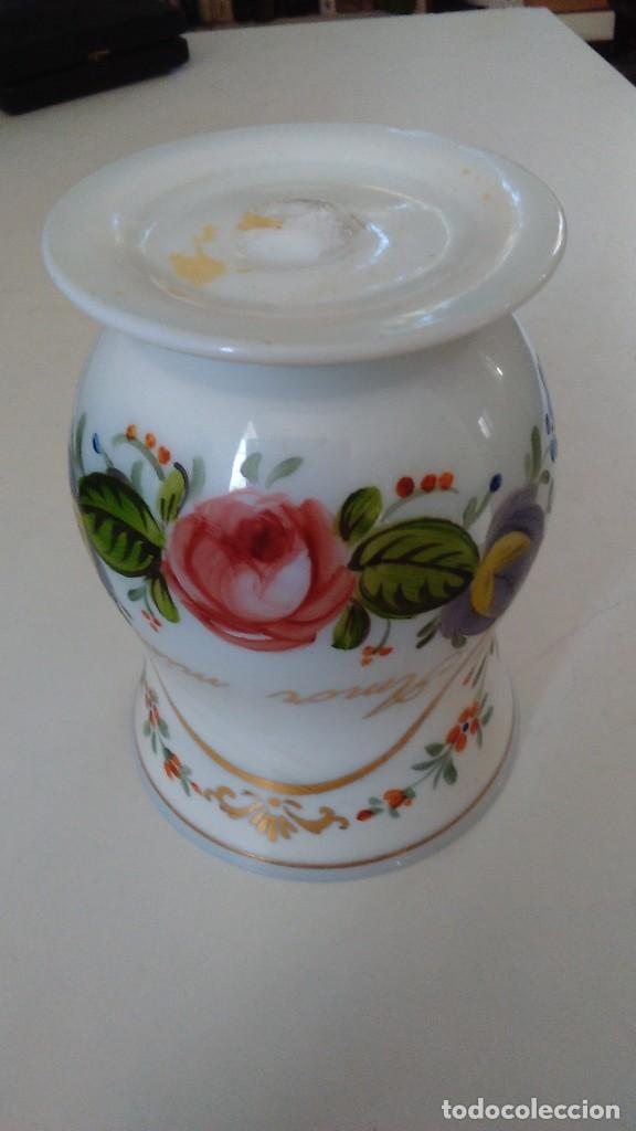 Antigüedades: Jarra o jarrita opalina de la Granja con inscripción Amor mio y con motivos florales - Foto 8 - 113669907