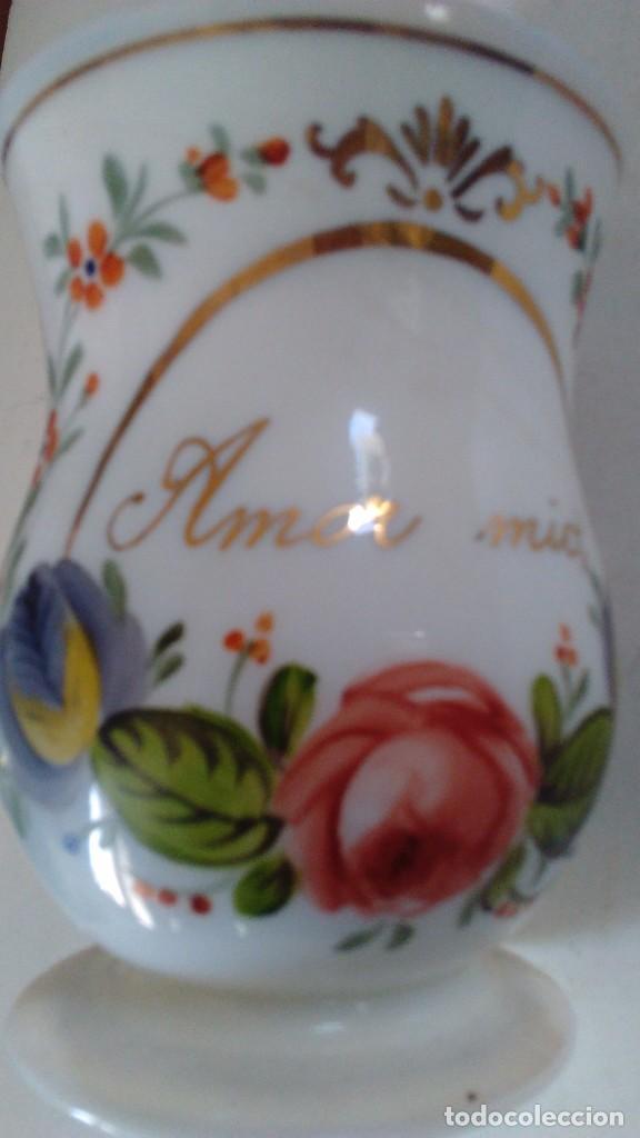 Antigüedades: Jarra o jarrita opalina de la Granja con inscripción Amor mio y con motivos florales - Foto 10 - 113669907