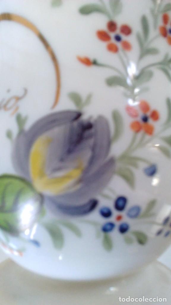 Antigüedades: Jarra o jarrita opalina de la Granja con inscripción Amor mio y con motivos florales - Foto 13 - 113669907