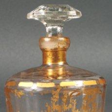 Antigüedades: PERFUMERO DE CRISTAL SOPLADO Y PINTADO EN ORO DE LA GRANJA SIGLO XIX. Lote 113670775