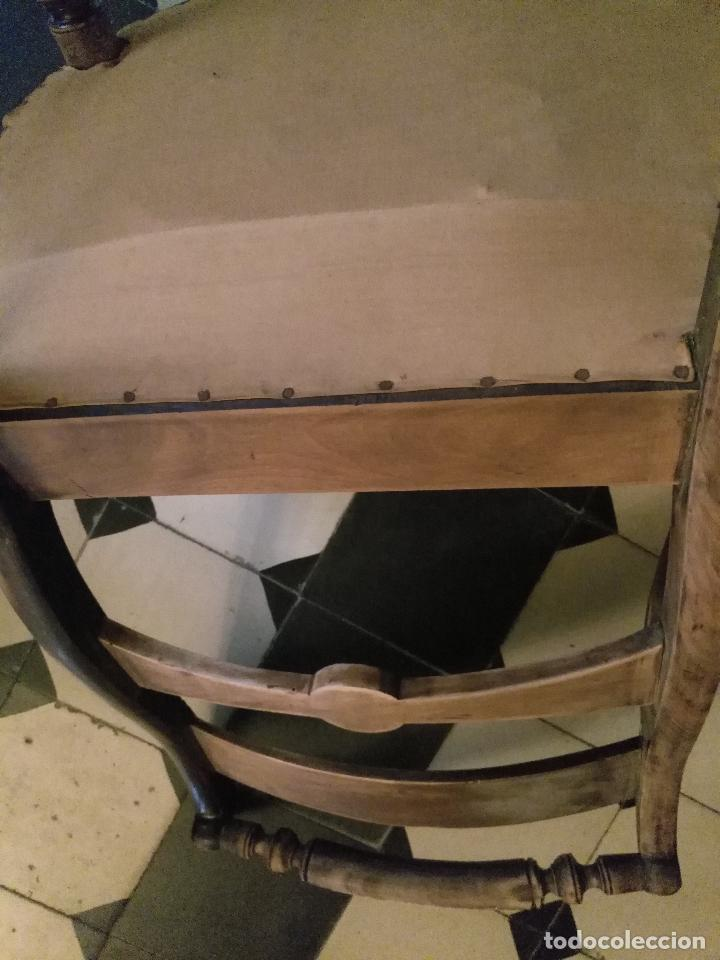 Antigüedades: antigua silla torneada madera y tapizada tela petit point o tapiz. a terminar de restaurar - Foto 3 - 113672907