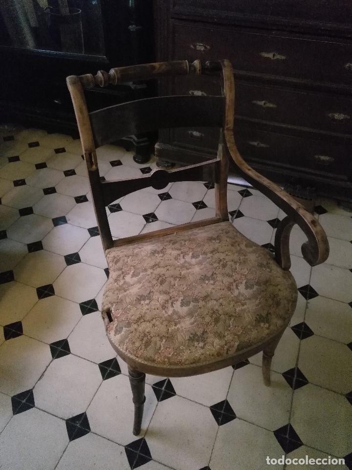 Antigüedades: antigua silla torneada madera y tapizada tela petit point o tapiz. a terminar de restaurar - Foto 6 - 113672907