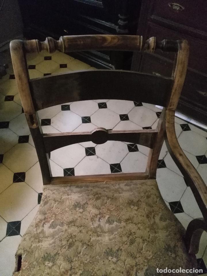 Antigüedades: antigua silla torneada madera y tapizada tela petit point o tapiz. a terminar de restaurar - Foto 8 - 113672907
